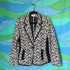 VINTAGE CHICOS ZIG ZAG BLAZER black white pattern